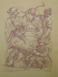Alexei Lopato - Trumpeter, page, slave with vases bearing gifts to Mohammed; graphic arts: paper, red venetian pencil, chalk