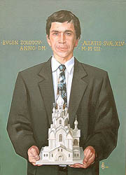 Alexei Lopato - Portrait of architect Evgen Zolotov; oil painting: oil on canvas