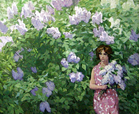 Dmitriy Iv. Melnikov  (1923-1999) - Girl with lilac; oil painting: oil on canvas