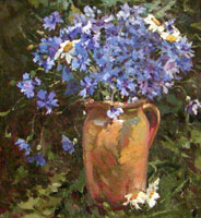 Dmitriy Iv. Melnikov  (1923-1999) - Jug with cornflowers; oil painting: oil on cardboard