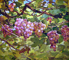 Dmitriy Iv. Melnikov  (1923-1999) - Bunch of grapes Nimgran; oil painting: oil on fiberboard