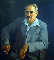 Dmitriy Iv. Melnikov  (1923-1999) - Portrait of produser Akhedzhakov (Father of artist Liy Akhedzhakova); oil painting: oil on canvas