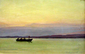 "Dmitriy Iv. Melnikov  (1923-1999) - The evening at reservoir ""Tshitskoie""; oil painting: oil on cardboard"