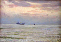 Dmitriy Iv. Melnikov  (1923-1999) - Sunset at the sea; oil painting: oil on cardboard