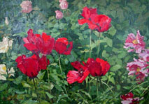 Dmitriy Iv. Melnikov  (1923-1999) - Poppies; oil painting: oil on cardboard