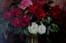 Dmitriy Iv. Melnikov  (1923-1999) - The roses; oil painting: oil on canvas