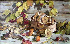 Dmitriy Iv. Melnikov  (1923-1999) - Mushrooms; oil painting: oil on canvas