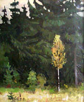 Dmitriy Iv. Melnikov  (1923-1999) - Birch and spruces; oil painting: oil on cardboard