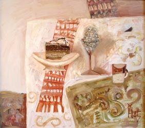 Natasha Hohonova - Dessert; oil painting: oil on canvas, acryl, natural stones (onyx, jasper)