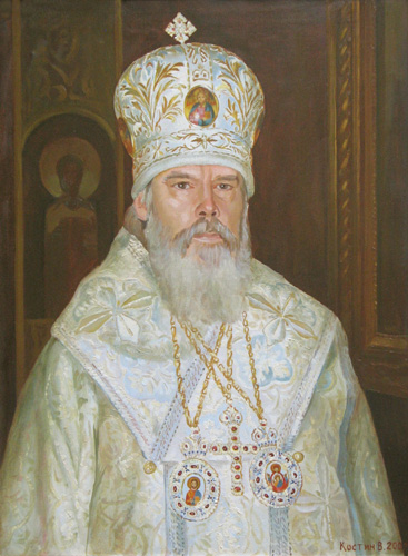 - Portrait of Holiness  patriarchy of Moscow and Russia Alexis II; oil painting: oil on canvas