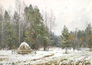 Alexey Efremov - First snow; oil painting: oil on canvas
