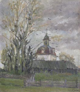 Aleksandr Burak (1921-1997) - Chapel; oil painting: oil on cardboard