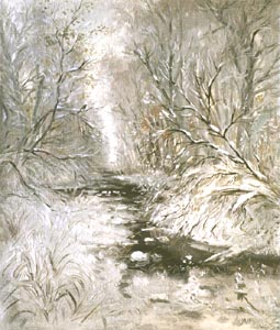 Alexander Mitsnik - First snow; oil painting: oil on canvas