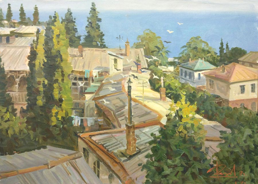 Aleksandr  Remezov - Southern roofs. Alupka; oil painting: oil on canvas