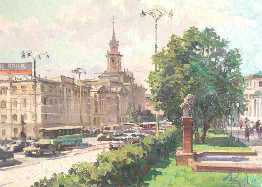 Aleksandr  Remezov - Main avenue; oil painting: oil on canvas