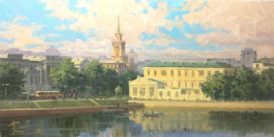 Aleksandr  Remezov - Morning city; oil painting: oil on canvas