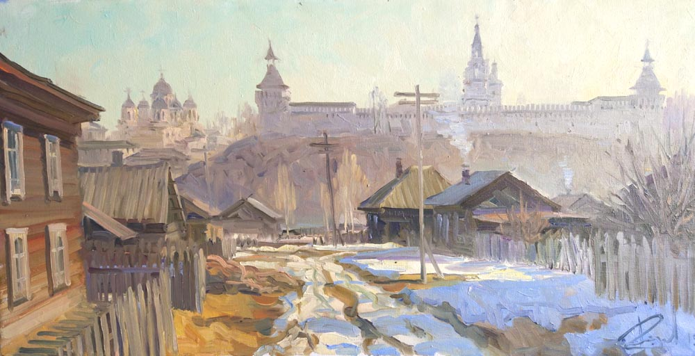 Aleksandr  Remezov - Morning in Verkhoturye; oil painting: oil on canvas