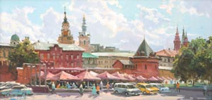 Aleksandr  Remezov - Moscow street; oil painting: oil on canvas
