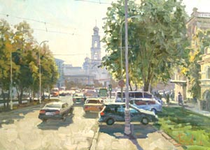 Aleksandr  Remezov - The noise of the big city. Ekaterinburg; oil painting: oil on canvas
