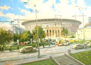 Aleksandr  Remezov - The Central stadium. Ekaterinburg; oil painting: oil on canvas