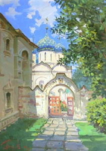 Aleksandr  Remezov - The road to the temple. Suzdal; oil painting: oil on canvas