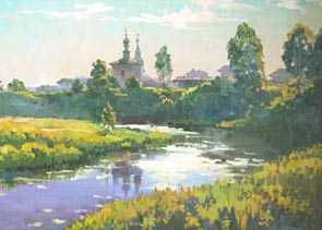 Aleksandr  Remezov - The warm evening. Suzdal; oil painting: oil on canvas