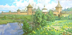 Aleksandr  Remezov - Near the old walls. Suzdal; oil painting: oil on canvas