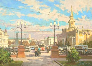 Aleksandr  Remezov - Lenin Street. Ekaterinburg; oil painting: oil on canvas