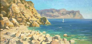 Aleksandr  Remezov - A white sail; oil painting: oil on canvas