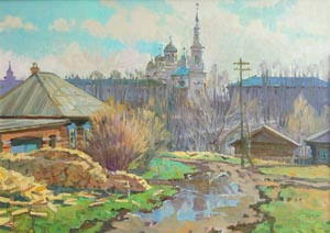 Aleksandr  Remezov - Spring road; oil painting: oil on canvas