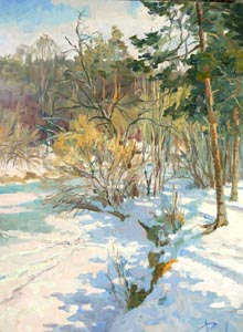 Aleksandr  Remezov - Forest river; oil painting: oil on canvas