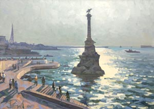 Aleksandr  Remezov - Monument to the flooded ships; oil painting: oil on canvas