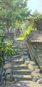 Aleksandr  Remezov - Garden ladder; oil painting: oil on canvas