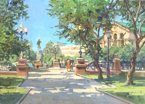 Aleksandr  Remezov - City square; oil painting: oil on canvas