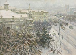 Aleksandr  Remezov - It is snowing; oil painting: oil on canvas