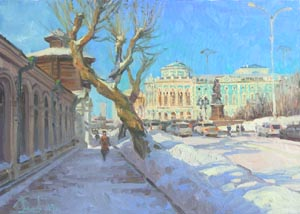Aleksandr  Remezov - Presentiment of spring; oil painting: oil on canvas