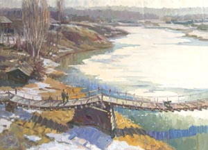 Aleksandr  Remezov - Bridge over the Toura river; oil painting: oil on canvas