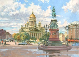 Aleksandr  Remezov - Isaakievsky square. Saint Petersburg; oil painting: oil on canvas