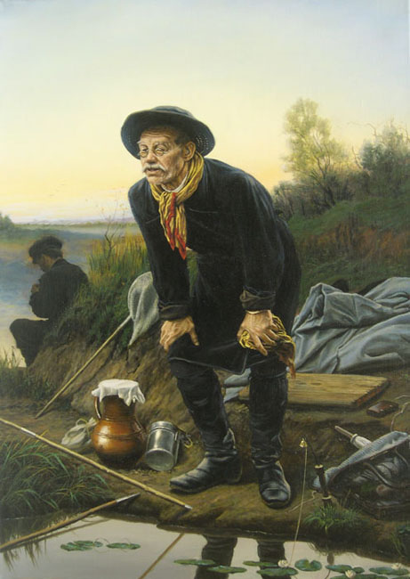 "Dmitriy Sheglov - Replica of the painting of V.G. Perov ""Angler""; oil painting: oil on canvas"