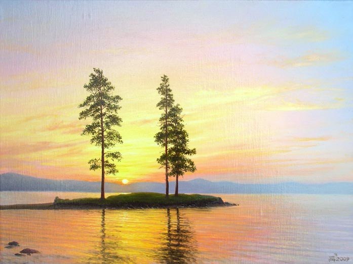 Dmitriy Sheglov - Sunset at the Tavatuy lake; oil painting: oil on canvas