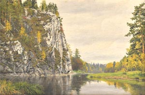 Dmitriy Sheglov - Schusovaya river; oil painting: oil on canvas