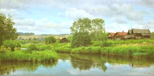 Dmitriy Sheglov - Near the river; oil painting: oil on canvas