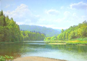 Dmitriy Sheglov - At the Ufa river; oil painting: oil on canvas