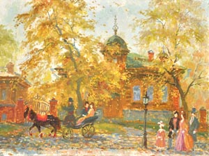 Victor Dobrovolski - Autumn in Ekaterinburg; oil painting: oil on canvas