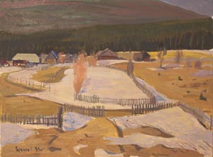 Gennady Gorelov (1938 - 2009) - White hill; oil painting: oil on cardboard