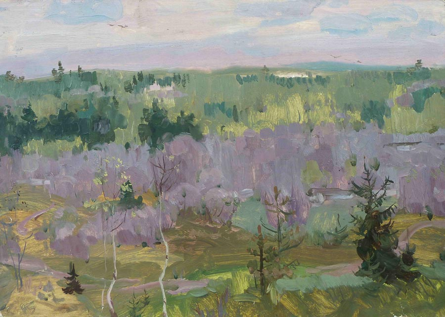 Nikolai Korznyakov - May. In purple tones; oil painting: oil on paper  pasted on hardboard