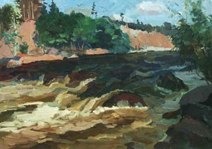 Nikolai Korznyakov - Roll. Rough river; oil painting: oil on paper  pasted on hardboard