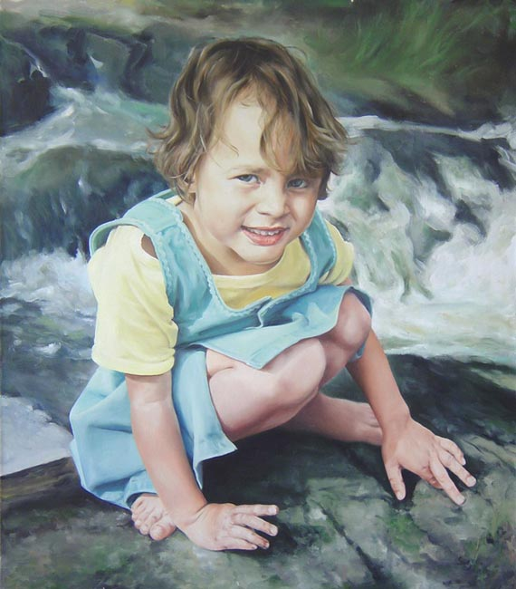 Yuri Kazantsev - Girl near stream; oil painting: oil on canvas