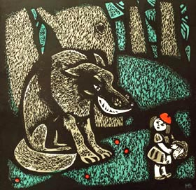 Misha Brusilovskiy - Little Red Riding Hood; graphic arts: linoleum engraving