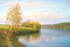 Sergei Sheglov - At the bank of pond; oil painting: oil on canvas